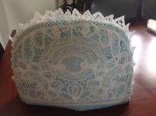 Hermoso Antiguo/Vintage blanca cubierta de encaje cinta Cubre Tetera