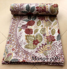 Kantha Quilt India Floral Bedspread Handmade 100%Cotton Blanket Beige Color Twin