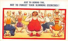 Bamforth Comic postcard Fat Lady big butt, Not to Forget Your Slimming Exercises