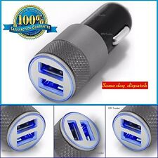 SILVER UNIVERSAL TWIN 2 PORT USB 12V DUAL CAR CHARGER CIGARETTE LIGHTER IPHONE 5