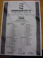 29/10/2013 teamsheet: Birmingham City V Stoke City [ Football League Cup ]. articolo IO