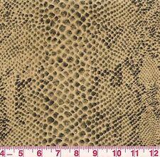 Braemore Python Amber Beige Faux Snake Skin Velvet Print Upholstery Fabric BTY