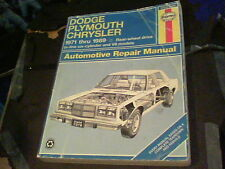 Haynes Repair Manual Dodge, Plymouth, Chrysler 1971 thru 1989 s19b