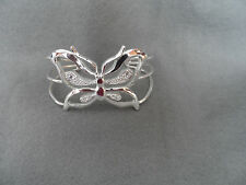 925 Silver butterfly cuff bracelet with rhinestone accents