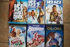 5 ASSORTED CHILDREN'S DVD'S-2 SANTA ONES-ICE AGE DOUBLE-CATS AND DOGS