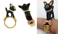 R240 BETSEY JOHNSON Exquisite Cute Black Kitty Cat w/ Bow Adjustable Ring US