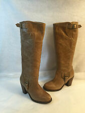 Ariat Knee High Dress Casual Western Boot Heels Tan Leather Round Toe 7 B