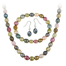 Stearling Silver Freshwater Cultured Multi Color Pearl Set