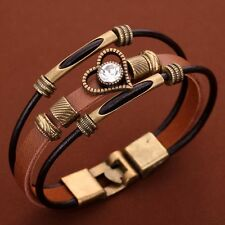 Women Multi-Layer Brown Leather Bracelet Bronze Heart Crystal Wristband Bangle