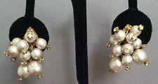 Vintage Miriam Haskell Baroque Pearl Rhinestone Dangle Signed Clip On Earrings