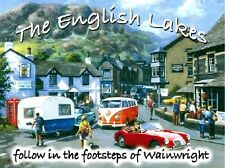 The English Lake District, VW Camper, Car, Village Small Metal/Tin Sign, Picture