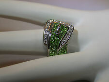 Swarovski Zirconia Buckle Ring White And Green Simulants in Surgical 316L SS