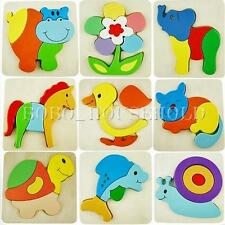 Hot Wooden Blocks Kid Child Cartoon Animal Design Puzzle Game Educational Toy