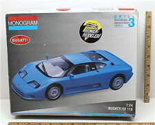Vintage 1993 Monogram 1:24 Bugatti EB 110 Blue Plastic Model Car Kit #2436 USA