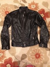 GAP Women's Black Leather Lightweight Motorcycle Moto Jacket Size S Preowned