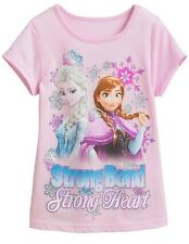 NEW Sz 5 Disney Frozen Shirt Anna Elsa Strong Bond Strong Heart