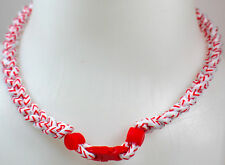 "NEW! 20"" Custom Clasp Braided Sports White Red Baseball Stitch Tornado Necklace"