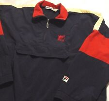 Rare Vintage 90s FILA Nylon Windbreaker Pullover USA Red white blue Mens XL