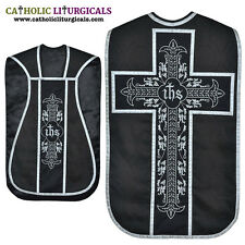 NEW Black Fiddleback Chasuble Mass Vestment set Veil, Maniple, Stole, Burse