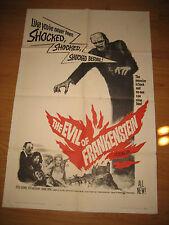 The Evil of Frankenstein Orig, 1sh Movie Poster '64 Peter Cushing, Hammer,