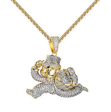 Monopoly Man Pendant 14K Yellow Gold Finish Iced Out Simulated Diamonds Necklace