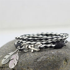 Fashion Bangles Men Jewelry Accessories PU Leather Feather Charm Bracelets GS