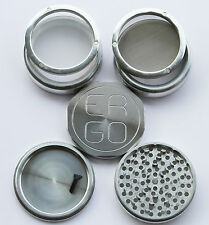 "BIGGEST 4.25"" ERGO Aluminum 5pc herb grinder 2 stacked REMOVABLE screens 110mm"