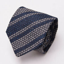 NWT $225 BORRELLI NAPOLI Navy Blue-Gray Woven Knit Stripe Silk Tie Handmade