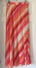 Chicos Women Sunset Stripe Maxi Skirt Chicos sz 1 = ( 8 / 10 ) Pink Orange White
