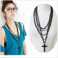 Retro Women Cross Pendant Long Chain chunky statement bubble Necklace Girls Gift