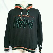 VTG Starter Hoodie Script 90's Double Hood Miami Hurricanes University Mens XL