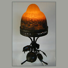 ART DECO Rethondes Signed WROUGHT IRON TABLE LAMP FRENCH MARMOREAN GLASS GLOBE