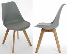 Charles Jacobs Dining/Kitchen/Office CHAIR x2 PAIR Wooden Oak Furniture in Grey