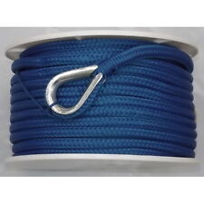 1/2 Inch x 150 Ft Blue Double Braid Nylon Anchor Line for Boats
