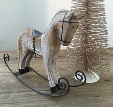 Wooden Rocking Horse Ornament Christmas Toy Decoration Vintage Chic Pony