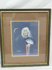 ROBERT REDBIRD ARTWORK ORIGINAL KIOWA NATIVE AMERICAN ELDER SIGNED CHIEF FAN