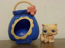Littlest Pet Shop LPS #453 Persian Cat Orange with blue eyes and Carrier
