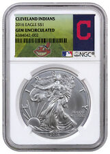 2016 1oz American Silver Eagle NGC GEM BU (MLB Cleveland Indians Label) SKU40127