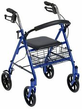 "8"" INCH 4-WHEEL LIGHTWEIGHT ROLLING FOLDING WALKER ROLLATOR SHOPPING BASKET NEW"