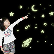 Cartoon Home Decals Decor Glow In The Dark Wall Sticker Cosmic Star Spaceship
