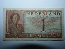 Vintage 1949 Dutch Holland Nederland One Gulden Banknote, Good Condition