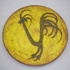 LARGE GUNDA Pottery Unusual Retro DISPLAY Plate with Unusual ROOSTER DESIGN.