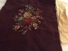 Preworked Needlepoint Canvas Tapestry Roses 16 x 21 Brown Background Red Yellow