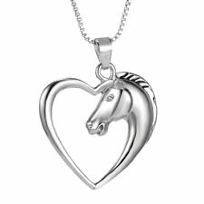 Fashion Chic Silver Plated Swift Horse In Heart Pendant Necklace Chain Women Men