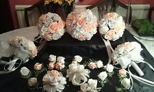BRIDAL BOUQUET WEDDING PACKAGE Peach Silver Grey & White. **22 PIECES**