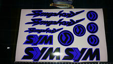 Sym Symphony Stickers / Decals BLUE & Black 11 piece printed vinyl, 50, 125,