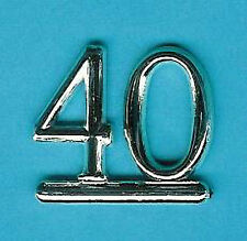 SILVER 40 NUMBERS/ NUMERALS (Pk of 6) CAKE DECORATION/ CARDS