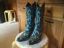 Pre Owned Rain Bops by Beehive Women's Rubber Boots Size 9.  Brown & Turquoise.