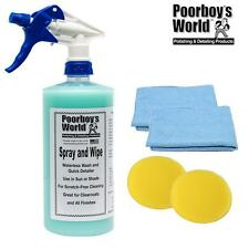 Poorboys Spray & Wipe Waterless Car Wash Quick Detailer 32oz + 2 Free Cloths Pad