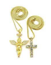 "Pave Halo Praying Baby Angel, Cross Pendant 24"",27"",30"" Box Chain 2 Necklace Set"